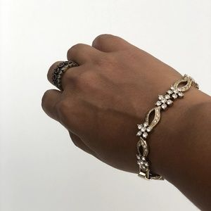 NADRI Crystal bracelet 14k gold covered chain